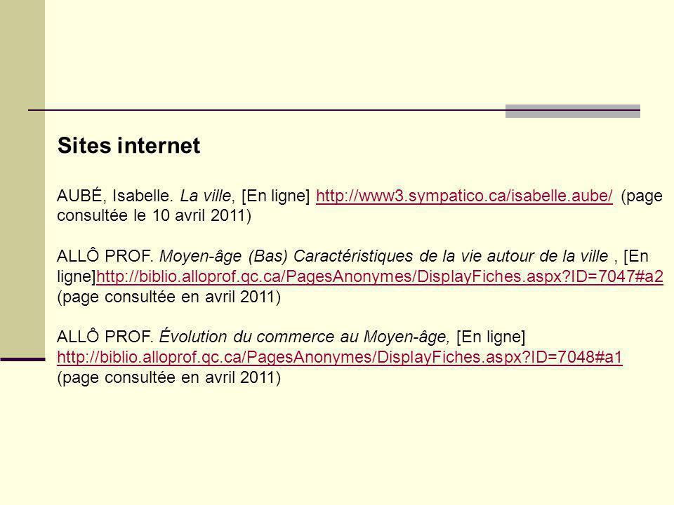 Sites internet AUBÉ, Isabelle. La ville, [En ligne] http://www3.sympatico.ca/isabelle.aube/ (page consultée le 10 avril 2011)